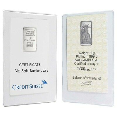 Lot of 2 - 1 gram Credit Suisse Statue of Liberty Platinum Bar .9995 Fine (In