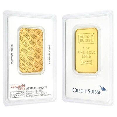 Lot of 2 - 1 oz Credit Suisse Gold Bar .9999 Fine (In Assay)