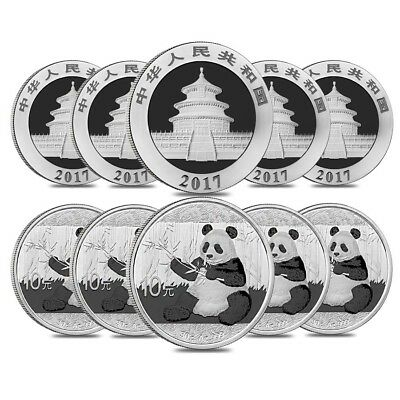 Lot of 10 - 2017 30 gram Chinese Silver Panda 10 Yuan .999 Fine BU