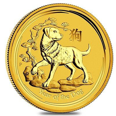 2018 1/10 oz Gold Lunar Year of The Dog BU Australia Perth Mint In Cap