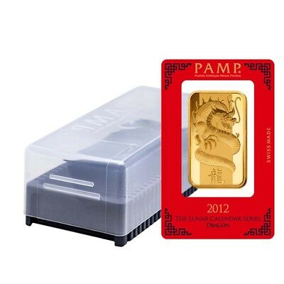 Box of 25 - 100 gram PAMP Suisse Year of the Dragon Gold Bar (In Assay)