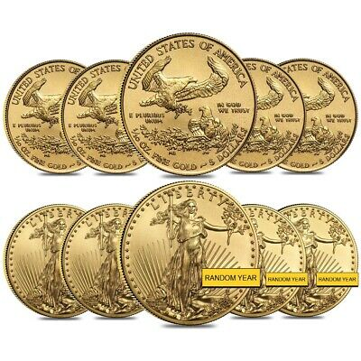 Lot of 10 - 1/10 oz Gold American Eagle $5 Coin BU (Random Year)