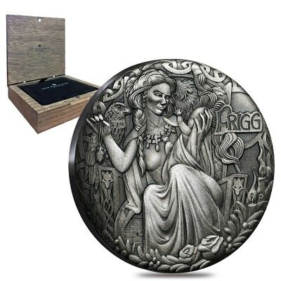 Sale Price - 2017 2 oz Tuvalu Norse Goddesses Frigg Antiqued High Relief Silver