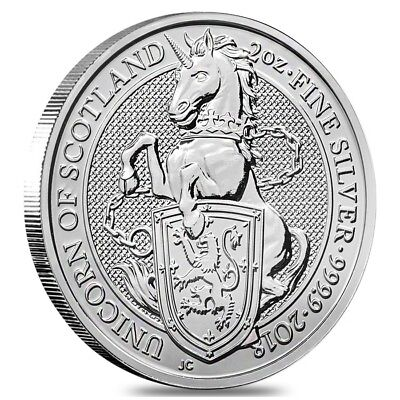 2018 Great Britain 2 oz Silver Queen's Beast (Unicorn of Scotland) Coin .9999
