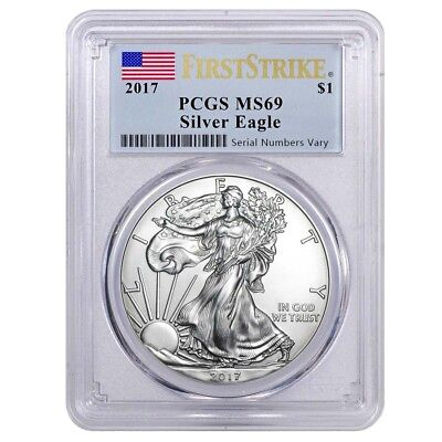 2017 1 oz Silver American Eagle $1 Coin PCGS MS 69 First Strike (Flag Label)