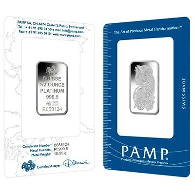 Lot of 2 - 1/2 oz PAMP Suisse Lady Fortuna Platinum Bar .9995 Fine (In Assay)