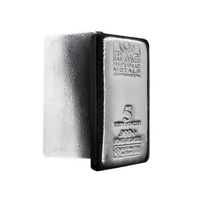 Lot of 2 - 5 oz Republic Metals (RMC) Silver Bar .999 Fine (Cast,Sealed)