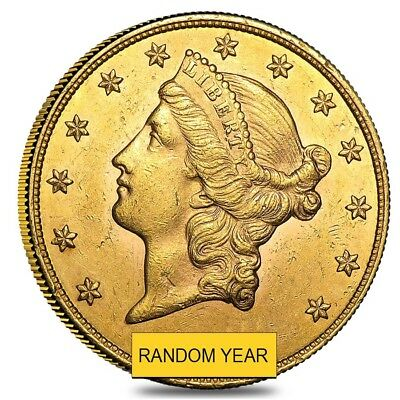 $20 Gold Double Eagle Liberty Head - Almost Uncirculated AU (Random Year)