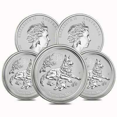 Lot of 5 - 2018 1 oz Silver Lunar Year of The Dog BU Australian Perth Mint In