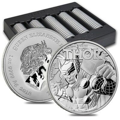 Lot of 100 - 2018 1 oz Tuvalu Thor Marvel Series Silver Coin .9999 Fine Silver