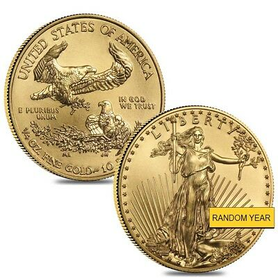 Lot of 2 - 1/4 oz Gold American Eagle $10 Coin BU (Random Year)
