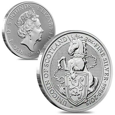 Lot of 2 - 2018 Great Britain 2 oz Silver Queen's Beast (Unicorn of Scotland)