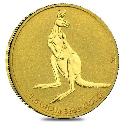 0.5 g Australian Gold Mini Roo Perth Mint Coin BU In Cap .9999 Fine (Random