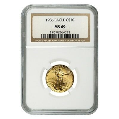1986 1/4 oz $10 Gold American Eagle NGC MS 69 (MCMLXXXVI)