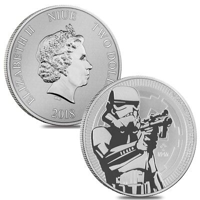 Lot of 2 - 2018 1 oz Niue Silver $2 Star Wars Stormtrooper BU