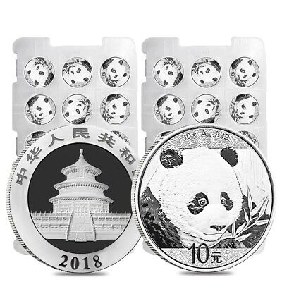 Lot of 30 - 2018 30 gram Chinese Silver Panda 10 Yuan .999 Fine BU (2 Sheet,Roll
