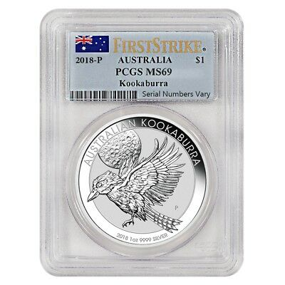 2018 1 oz Silver Australian Kookaburra Perth Mint PCGS MS 69 First Strike