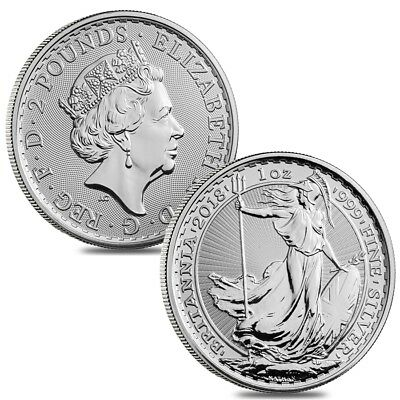 Lot of 2 - 2018 Great Britain 1 oz Silver Britannia Coin .999 Fine BU