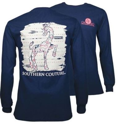 Southern Couture Paisley Giraffe Navy Long Sleeve Tee Shirt