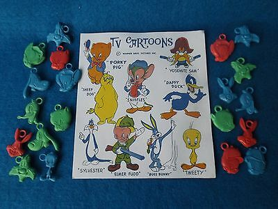 Vintage Lot Of 1950's Looney Tunes Gumball Cracker Jack Prize Charms