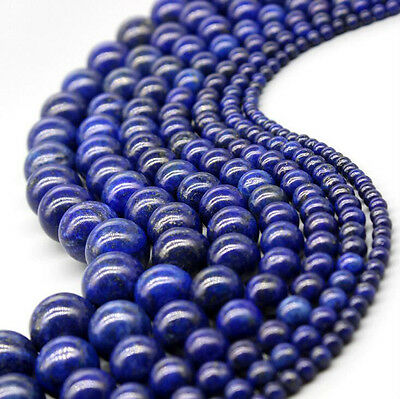 "15"" Natural Lapis Lazuli Gemstone Round Loose Spacer Bead Jewelry Finding 4-10mm"