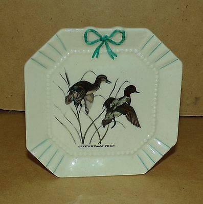 Vintage Wall Pocket with  Green Winged Teals Ducks on the front EUC marked retro