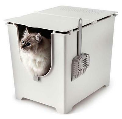 Flip Litter Box with Scoop and Reusable Liner