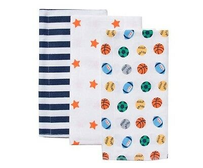 GERBER Infant Baby Boy Assorted Print Flannel Burp Cloths 3-Pack NEW NWT A3