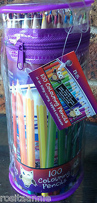 100 Adult Or Kid Colouring Pencils In Clear Pencil Case - High Quality