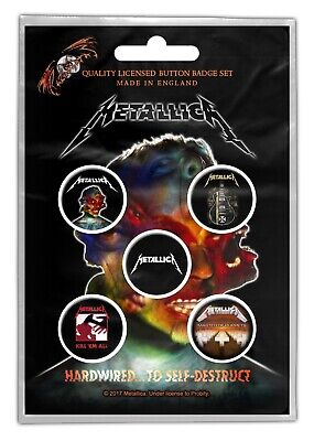 Metallica Hardwired 5 Button Set Badge Pack Metal Badges New