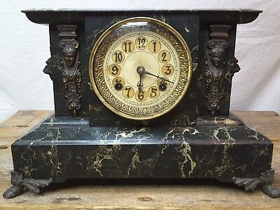 Antique New Haven Cast Iron Mantle Clock Brass Lions 1896 patent