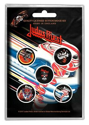 Judas Priest Turbo Screaming Defenders 5 Button Set Badge Pack Metal Badges