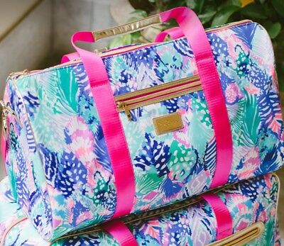 ✈️🌴 NWT Lilly Pulitzer Carry On Duffel Bag Tote GWP Quill Out 🚁⚓️