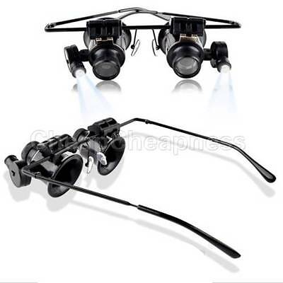 Jeweler Watch Repair LED Light 20x Magnifier Magnifying Eye Glasses Loupe Lens: