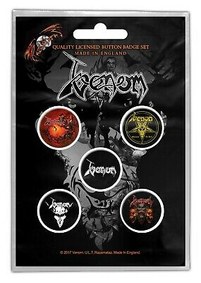 Venom Black Metal 5 Button Set Badge Pack Badges Official New