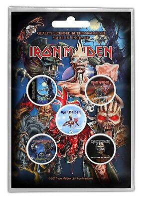 Iron Maiden Later Albums 5 Button Set Badge Pack Metal Badges Official New