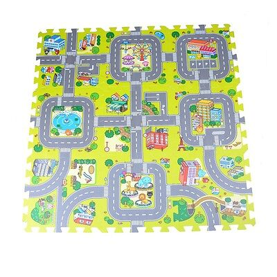 9pcs Traffic Route Kids Soft EVA Foam Puzzle Education Floor Play Mats、sT