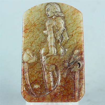Chinese Exquisite hard jade jadeite hand-carved pendant Necklace beauty AAAA