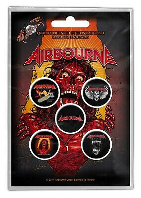 Airbourne Breakin Outta Hell 5 Button Set Badge Pack Metal Badges Official New