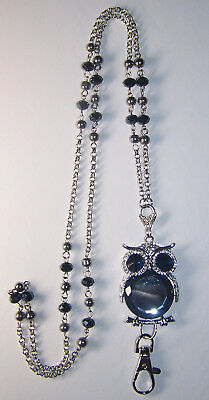 Grey Crystal Owl & Silver Flower Beaded Lanyard Necklace / ID Badge Cruise Card