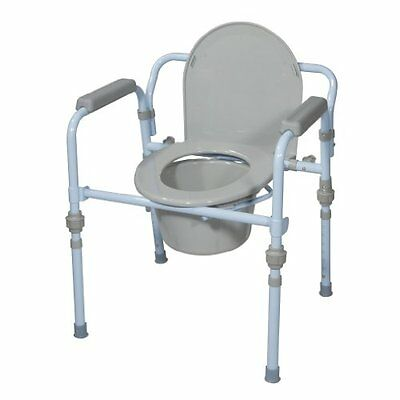 Folding Bedside Commodes Commode Seat With Bucket And Splash Guard, Powder Blue
