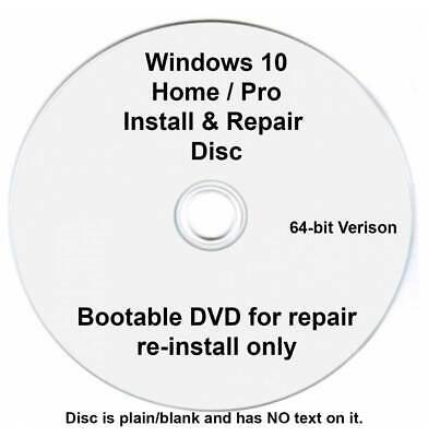Windows 10 Home / Pro 64 Bit Re-Install Restore Repair Recovery Boot Disc DVD