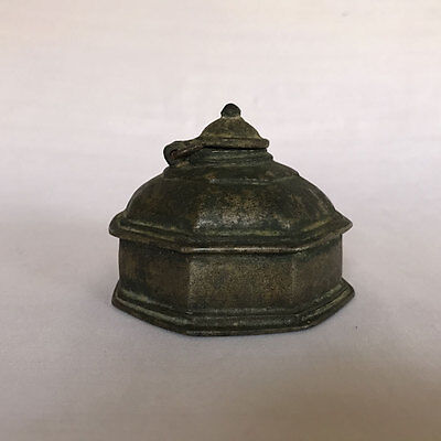 An antique Hand Crafted Engraved Brass Ink Well Pot decorative Shape