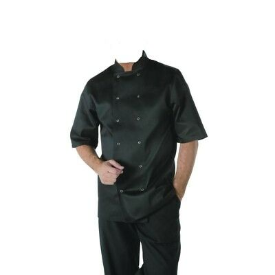 Black Chefs Short Sleeve jacket Whites Unisex Cross Over Style Freepost