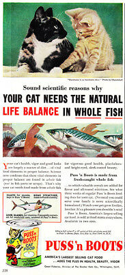 1954 Puss n Boots: Your Car Needs the Natural Life Balance Vintage Print Ad