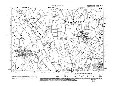 Willersey, Childs Wickham, Old Map Gloucestershire 1903: 7SW