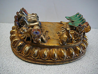 Wonderful gilt bronze base for Buddhist figure/ figural statue Tibet 18th-19thC