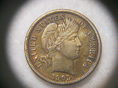 1905  BARBER DIME 10¢ Extremely Fine