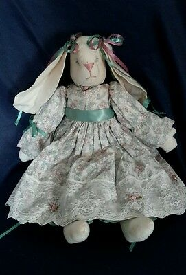 Vintage Handmade Female Floppy Ear Fabric Bunny With Pink & Green Floral Dress