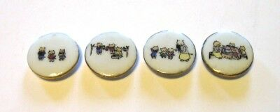 Great Set of 4 Vintage Lois Calkins Ceramic Buttons Three Little Kittens
